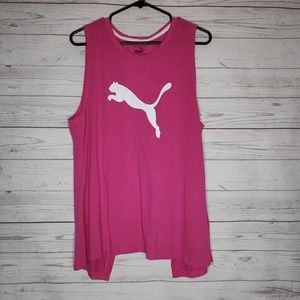 Puma Pink Sleeveless Open Back Tank Top Size Med